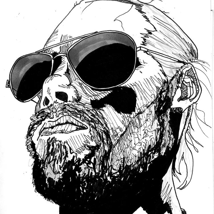 self portrait ink drawing